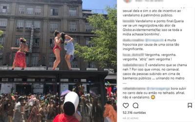 Bruna Linzmeyer é criticada após postar em redes sociais foto em cima de ponto de ônibus